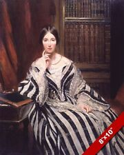 BARONESS BURDETT COUTTS IN LIBRARY PORTRAIT PAINTING BEAUTIFUL ART CANVAS PRINT