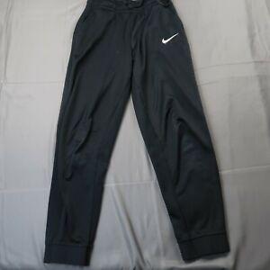 Nike Boys Youth Size Large Fleece Jogger Pants Black Swoosh Sweatpants