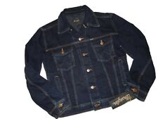 Wrangler men's Denim TRUCKER Jean JACKET Dark Blue size Medium M  MJM003V