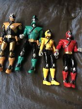 Lot of 4Power Rangers Samurai Red Green gold Yellow Action Figures Toys used