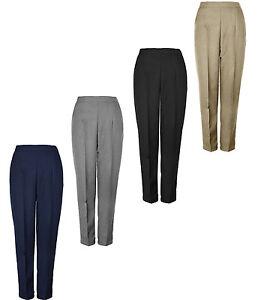 Womens Half Elasticated Waist Trouser Inside Leg 25 27 29 Inches KK39/40/54