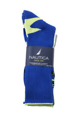 3 Pairs Nautica Mens Crew Sports Socks 10-13 Shoe Size 6-12 Blue Gray White