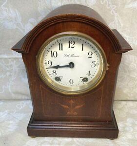 Seth Thomas Mantel Clock w/ Inlaid Mahogany Case Runs & Strikes 48J Movement