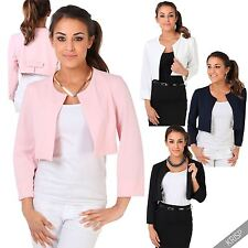 No Pattern None Boleros Shrugs Waist Length Women's Coats & Jackets