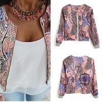 Cy_ BU_ Women Jacket Floral Print Long Warm Sleeve Coat O Neck Collar Zipper Clo