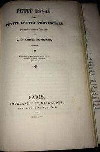 MÉDECINE. Petite Lettre Provinciale Philosophico-médicale. 1828.