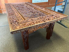Rectangular Chinese Heavily Hand-Carved Cocktail/Coffee Low Table Bali Signed