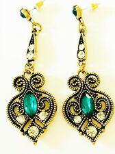 Victorian Art Nouveau Earrings Green Rhinestone Antique Reproduction Long