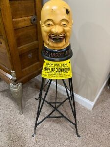 HappyJap  Chewing Gum Vending Machine Porcelain Like Sign Patent 1901
