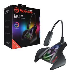 USB GAMING RGB MICROPHONE | MARVO SCORPION MIC-01 | Mic Stand for PC Computer