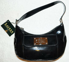 Vintage Lauren by Ralph Lauren Handbag Black Rubber Plastic 1990s with tags