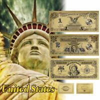 1899 Series $ 1 $ 2 $ 5 Dollar Set USA Black Eagle Chief vergoldete Banknote