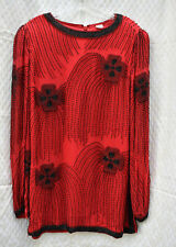 Vintage 100% Silk Beaded Red Top, Size Medium