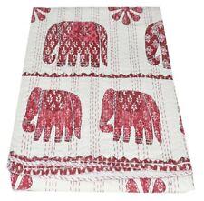 Vintage Elephant Kantha Quilt Blanket Indian Bedspread Coverlet Throw Art
