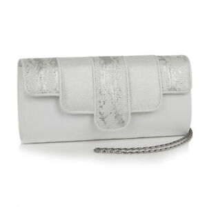 Ruby Shoo White/Silver Canberra Clutch Bag (Matches Priscilla Heels)