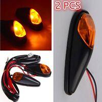 2 x Motorcycle Flush Mount Turn Signal Blinker Marker Amber LED Light Universal