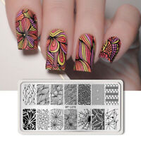 Nail Art Stamping Schablonen Nagel Kunst Platte Line Net Rectangle Maniküre