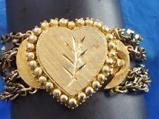 SIGNED BSK VINTAGE MID CENTURY BIG CHUNKY HEART CHARM CENTER BRACELET METAL