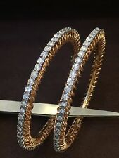 Pave 3.60 Cts Round Brilliant Cut Diamonds Bangles In Solid Certified 14K Gold