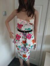 floral strapless peplum dress size 8 transvestite crossdresser cds 0024