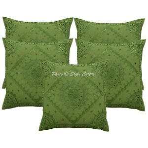Indian Cotton Embroidered Cushion Cover Parrot Green Mirrored Sofa Cushion Cover