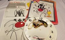 1997  Looney Tunes Clock w Tweety & Sylvester- Cross Stitch Kit
