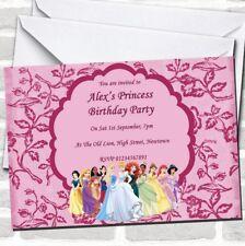Pink Princess Theme Birthday Party Invitations