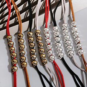 6 Pcs Skull Beads Hair Charms Dreadlock Beads Hair Braid Cuff Clip for Men Women