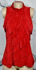 DRESSBARN Red Micro-pleated Diagonal Tiered Top XL High Neckline Unlined