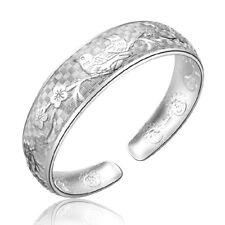 925 Sterling Silver Magpies Pattern Bangle Bracelet For Women Retro Style