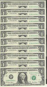 10 Consecutive 2001 $1 KA Block Federal Reserve Notes - Gem Crisp Uncirculated