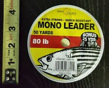 Bonus 25 Yards Extra Strong Shock Resistant Mono Leader 80lb 50-Yards Clear, New