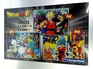 Mega Pack 3 Puzzles Dragon Ball Super 500/1000 Parts New Clementoni Dbz Dbs