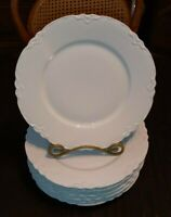 """8 Vtg Hutschenreuther Racine All White 8.75"""" Lunch Plates Embossed Scalloped EXC"""