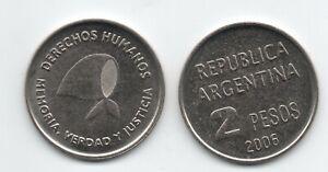 ARGENTINA  2006 2 Pesos Defense of Human Rights  KM 161 UNC