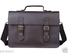 Men's Full Grain Real Leather Brown Tote Bag Shoulder Bag Messenger Briefcase