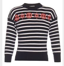 Alexander McQueen 3/4 Sleeve Navy Cut-out Embroidered floral Striped Jumper S