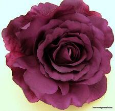 "4 3/4"" Purple Silk Rose Flower Hair Clip, Wedding, Prom, Dance,Bridal, Party"