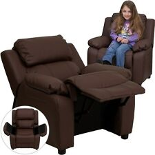Deluxe Heavily Padded Contemporary Brown Leather Kids Recliner w/Storage Arms