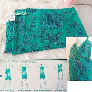 NWT INC International Concepts Beach PAREO COVER-UP SARONG Teal Paisley $79 MSRP