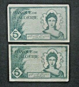 French Algeria banknotes - 5 Francs 11-16-42