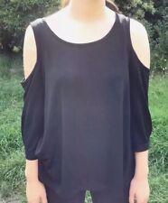 SUSSAN Top Blouse Sz L Womens Cold Shoulder Black Stretch Knit 3/4 Sleeve EUC