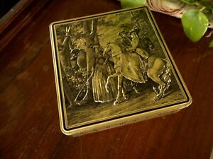 Vintage 3D Type Tin Woman Man Horse Gold Cookie ? Era of picture late 1700's ?