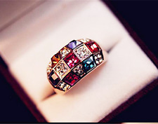 Fashion Men Women Multicolor Sapphire Gold Filled Engagement Ring Jewelry  HOT ~
