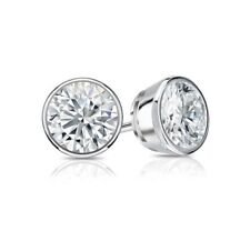 1.50 Ct Round Cut Earrings Studs Real 14K White Gold Brilliant Bezel Screw Back