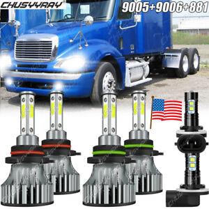 For Freightliner Columbia 2005-2017 9005 9006 881 LED Headlight Fog Light 6Bulbs