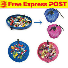 (FREE EXPRESS) Blue Kids Mat Bag Portable Storage Organizer 150cm Lego Toys