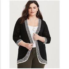 NWT TORRID Black Geometric Border Cardigan Size 3 3x 22w 24w MSRP $58.90