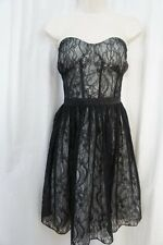 Aidan Mattox Dress Sz 12 Black White Laced Spaghetti Strap Cocktail Party Dress