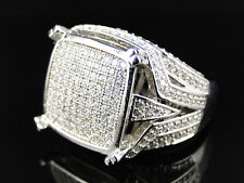 Ladies 925 Sterling Silver Pave Lab Diamond Engagement Ring In White Gold Finish